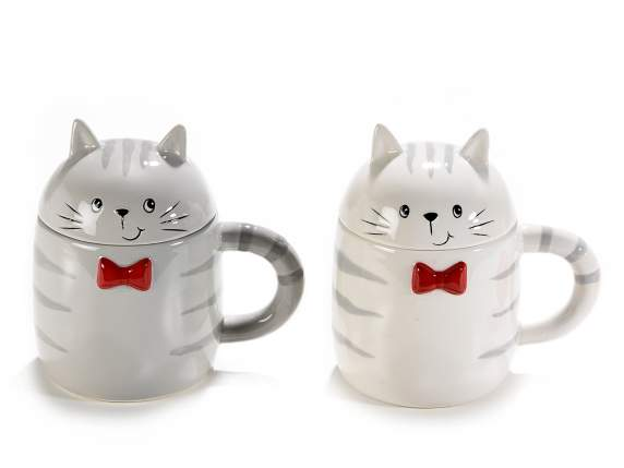 Cat ceramic colored mug with cover and bow tie