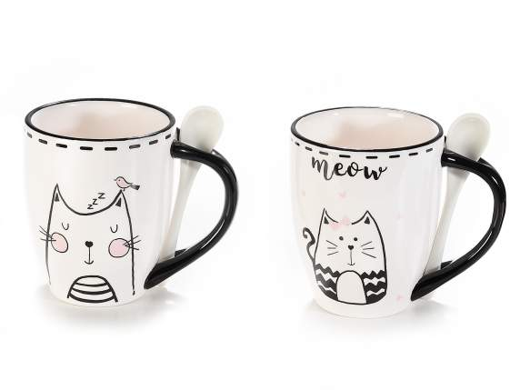 Cat ceramic colored mug with spoon