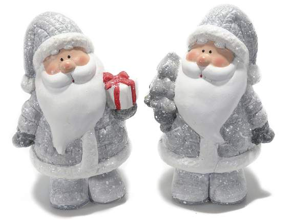 Xmas Santa Claus in gray ceramic