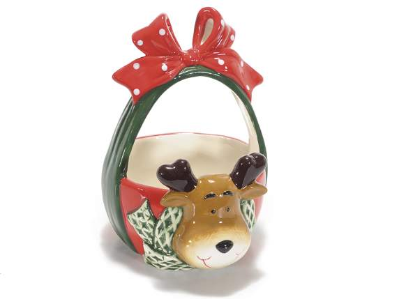 Christmas baskets in ceramic with reindeer