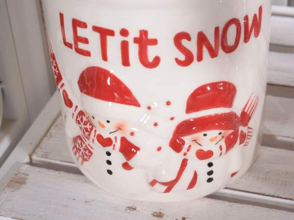 Christmas jars in ceramic Let it snow w-snowman
