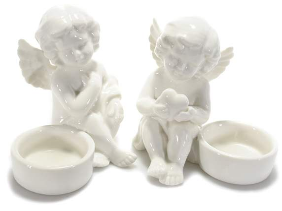 Tealight holder in ceramic shaped angels