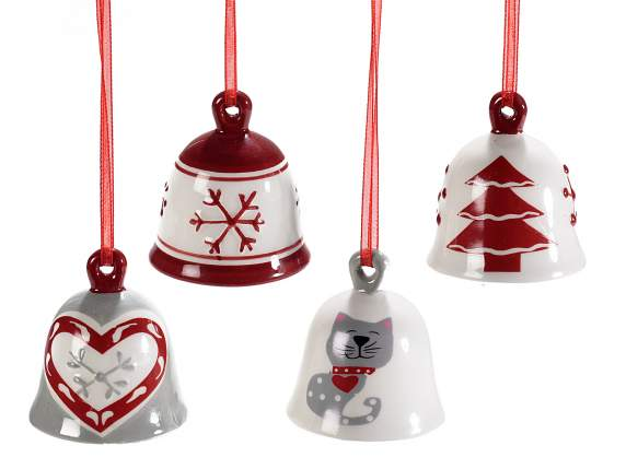 Ceramic bell w/decorations and ribbons to hang