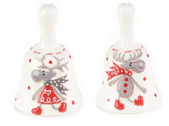 Ceramic bells with reindeers in love design