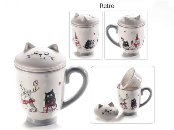 Ceramic cat mugpot with filter and decorations
