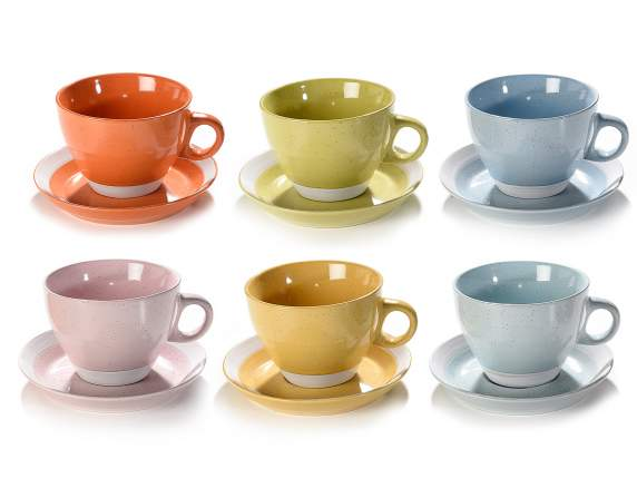Ceramic coffee cup in colored ceramic with white details
