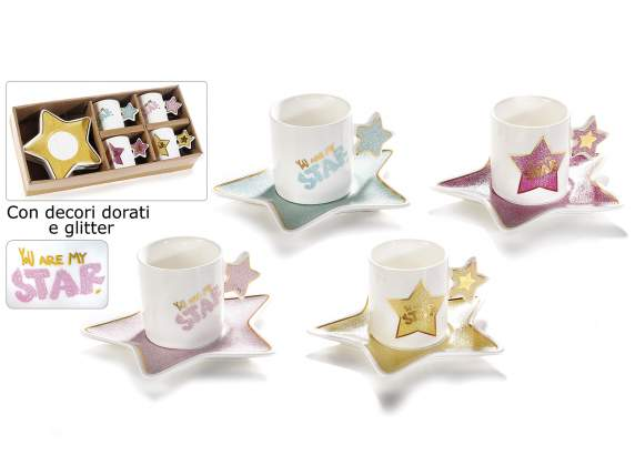 Ceramic cup and saucer star design