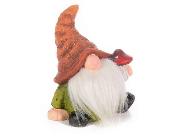 Ceramic decorative gnome with faux fur beard