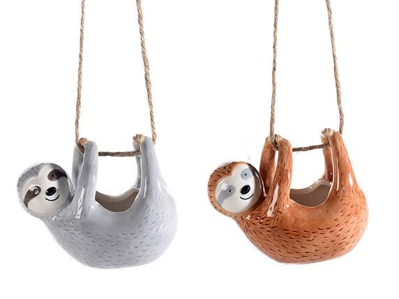 Ceramic hanging flower pot in sloth shape w/rope