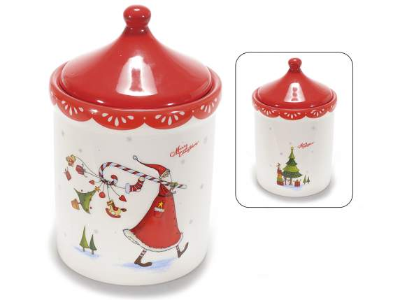 Christmas jars in shiny ceramic with decorations