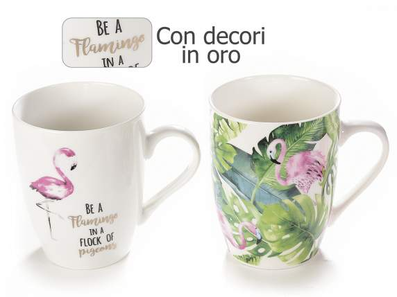 Ceramic mug flamingo design
