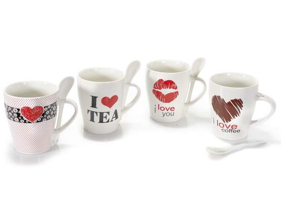 Ceramic mug Love with teaspoon