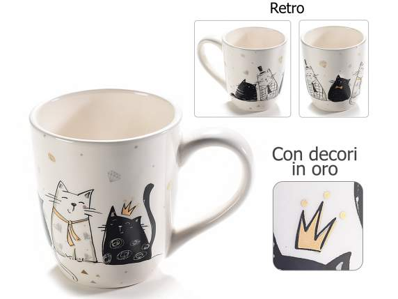 Ceramic mug with cat design