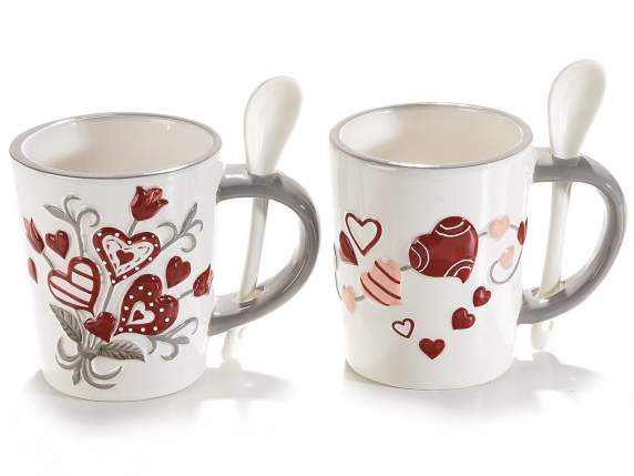 Ceramic mug with emboss hearts decoration and teaspoon
