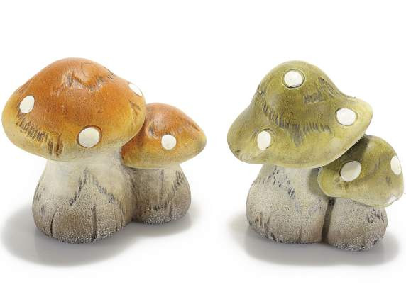 Decorative mushrooms in coloured ceramic