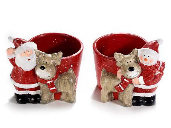 Ceramic pot with Christmas character and reindeer