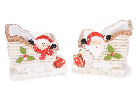 Ceramic sleigh with Christmas character