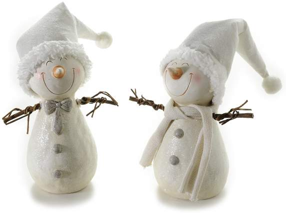 Ceramic snowman with wooden arms