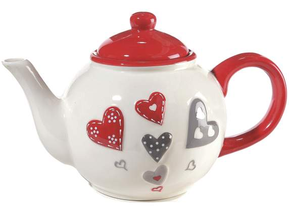 Ceramic teapot w/ heart decor in relief