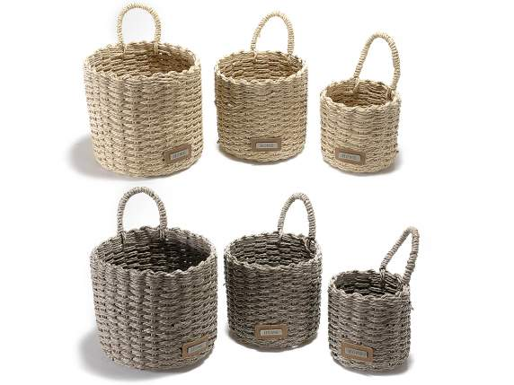 Set 3 round paper basket with handle