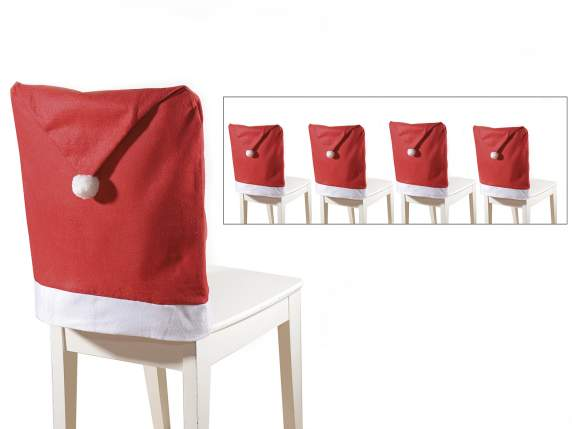 Set 4 Christmas chair covers w-pompon
