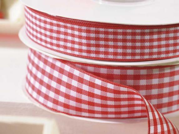 Gingham ribbon red strawberry colour