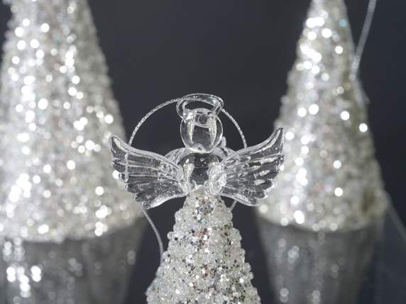 Box 3 glass hanging angels with glitter