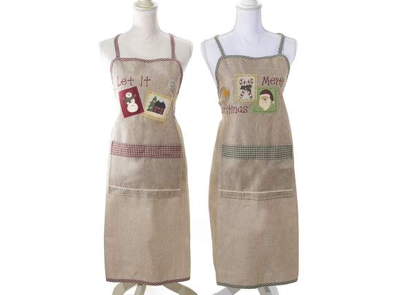 Christmas aprons with practical pocket in front