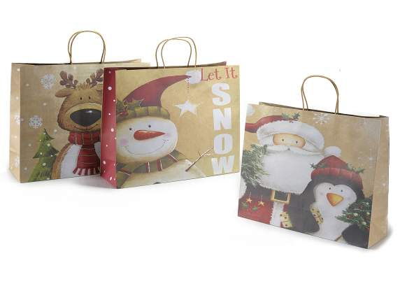 Xmas big kraft paper bag with tag
