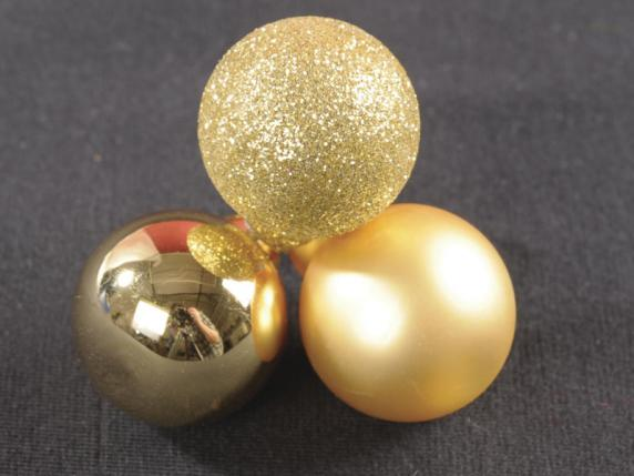 Box of 144 glass golden balls with moldable wire