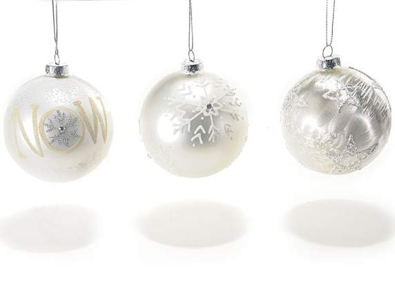 Pearl effect balls w-Let it snow decorations