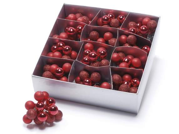 Box 144 glass red balls w-moldable wire