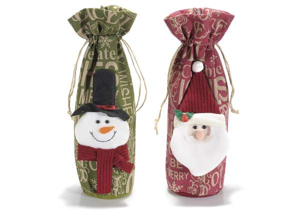 Christmas bottle and gift canvas holder bags