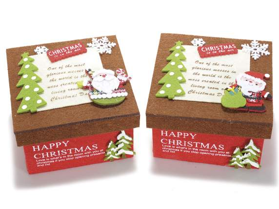 Fabric Christmas boxes with decorations