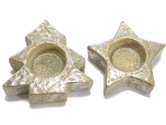 Candle holders in golden resin