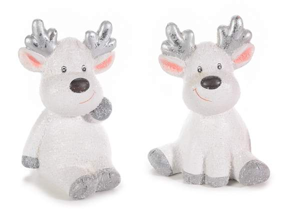 Christmas ceramic white reindeer