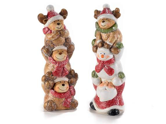 Christmas characters in tower shape made by ceramic