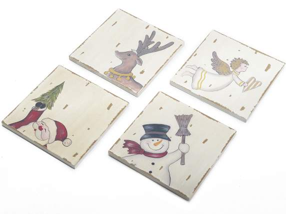 Wooden Christmas coasters with Christmas subjects