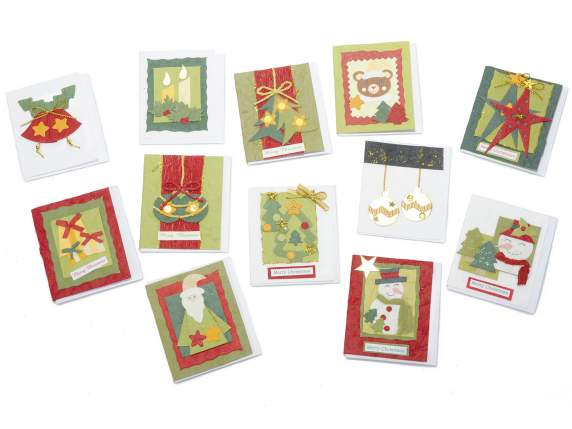 Natural paper hand-worked Christmas gift cards