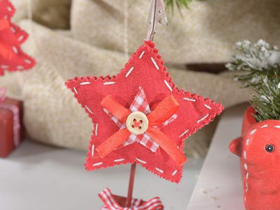 Wooden Cristmas memo clip with stuffed cloth