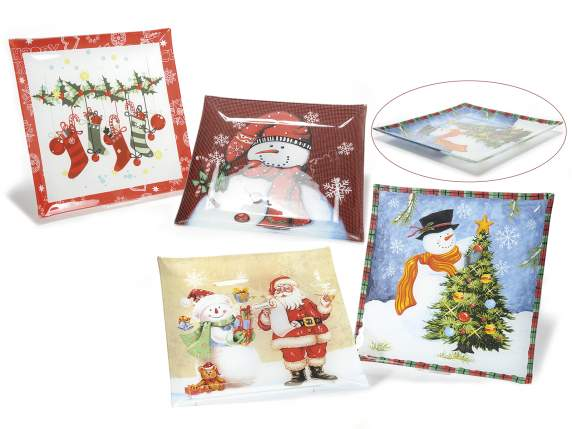 Square Xmas plates with decorative writings