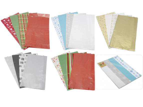 Packs 10 Christmas sheets tissue for presents boxes