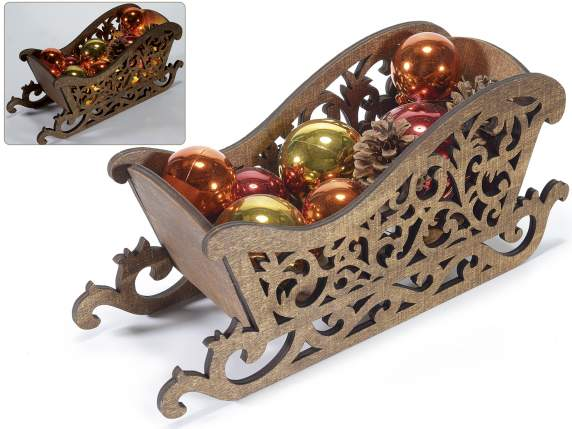 Christmas wooden sled with balls, pine cone and light LED