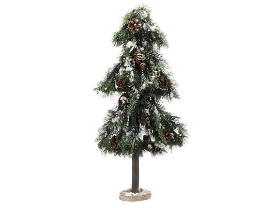 Snowy Christmas tree w-fir cones and wooden base