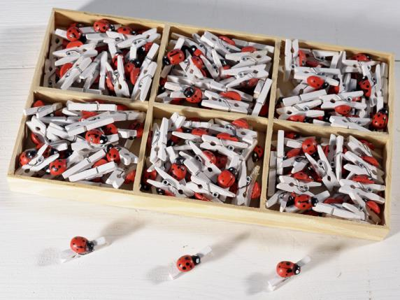 Box of 144 wooden clips w-ladybird