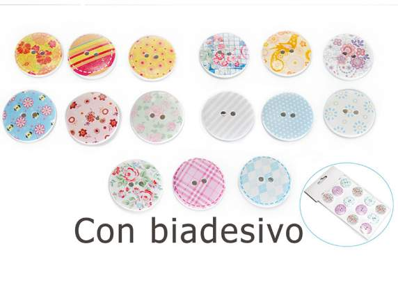 Package of 12 cloth buttons with adhesive.