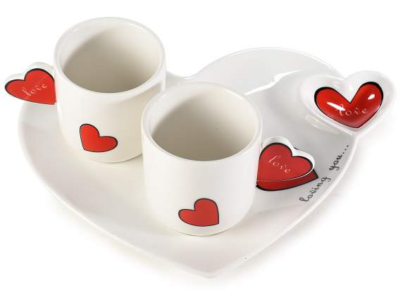 Coffe cup with heart saucer