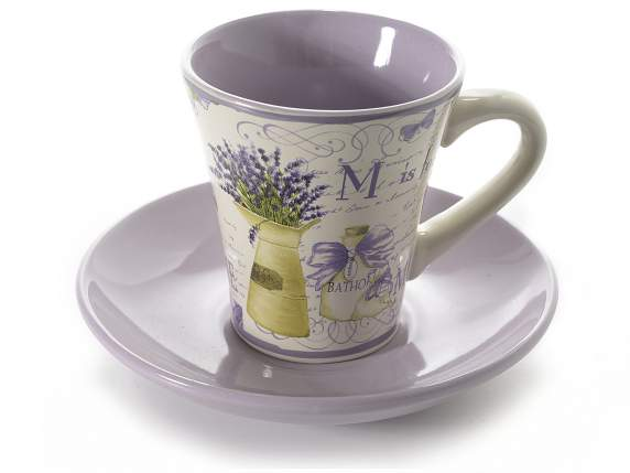 Coffee cup in ceramic w/saucer and lavender decor