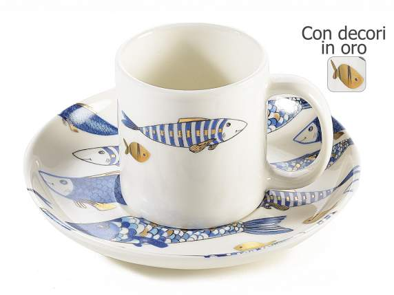 Coffee cup w/saucer and fish decor