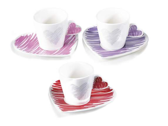 Coffee cup with heart saucer and handle